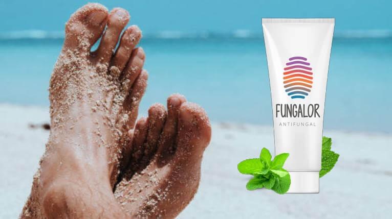 Крака на плажа и Fungalor опаковка