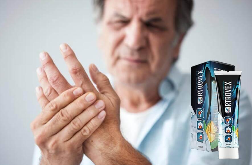 Artrovex опаковка, човек, с болки в ръката