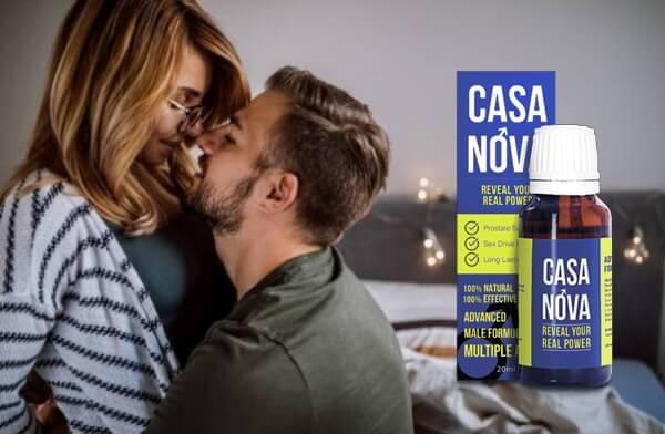 мъж и жена се целуват, капки Casanova