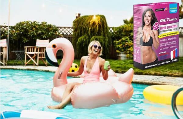 DIETonus, щастлива жена, фламинго, басейн
