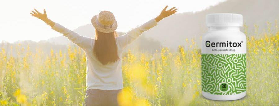Жена в поле с вдигнати ръце Germitox